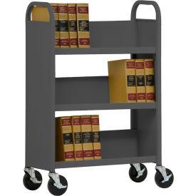 Sandusky® SL330 Single-Sided Slant 3 Shelf Book Cart 31x13 - Charcoal