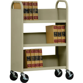 Sandusky® SL330 Single-Sided Slant 3 Shelf Book Cart 31x13 - Tropic Sand
