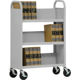 Sandusky® SL330 Single-Sided Slant 3 Shelf Book Cart 31x13 - Dove Gray