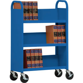 Sandusky® SL330 Single-Sided Slant 3 Shelf Book Cart 31x13 - Blue