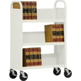 Sandusky® SL330 Single-Sided Slant 3 Shelf Book Cart 31x13 - Putty