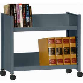 Sandusky® SR227 Single-Side Slanted 2 Shelf Book Cart 28 x 13 - Charcoal
