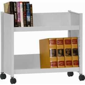 Sandusky® SR227 Single-Side Slanted 2 Shelf Book Cart 28 x 13 - Dove Gray