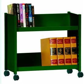 Sandusky® SR227 Single-Side Slanted 2 Shelf Book Cart 28x13 - Forest Green