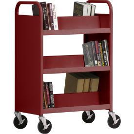 Sandusky® SV336 Double-Sided Slant 6 Shelf Steel Book Cart 37x18 - Burgundy