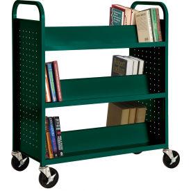 Sandusky® SV336 Double-Sided Slant 6 Shelf Steel Book Cart 37x18 Green