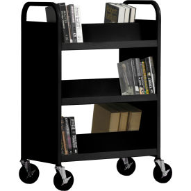 Sandusky® SV336 Double-Sided Slant 6 Shelf Steel Book Cart 37x18 - Black