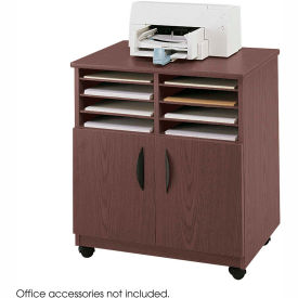 Safco® 1851MH Mobile Machine Stand with Sorter - Mahogany