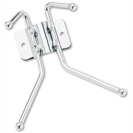 Safco® Wall Coat Rack, 2 Ball-Tipped Double-Hooks, Chrome