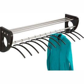 """48"""" Wooden Wall Coat Rack With Hangers - Black"""
