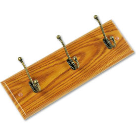 Safco® Wooden Wall Coat Rack, 3 Double-Hooks, Medium Oak