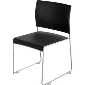 Safco® Currant™ Plastic Stacking Chair - Black with Chrome Frame - Pack of 4