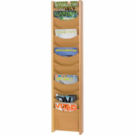 12 Pocket Wood Magazine Rack - Medium Oak