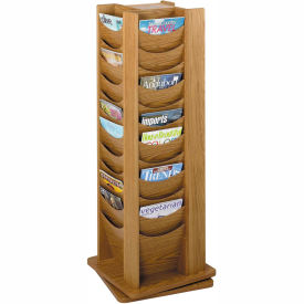 48 Pocket Solid Wood Rotating Display - Medium Oak