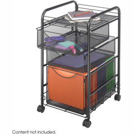 Safco® Onyx™ 5213 Black Mesh File Cart - 1 File & 2 Small Drawers
