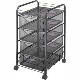 Safco® Onyx™ 5214 Mesh File Cart with 4 Drawers - Black