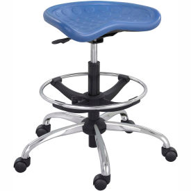 Safco® Polyurethane Stool with Chrome Base - Blue
