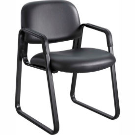 Cava Urth Sled Base Guest Chair, Black Vinyl