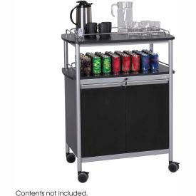 Safco 8964BL - Mobile Beverage Cart, Locking Cabinet, Steel, Black