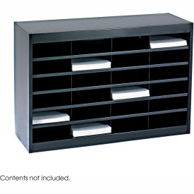 24 Compartment Steel Literature Organizer Black by