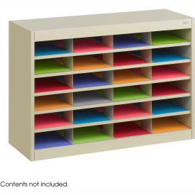 24 Compartment Steel Literature Organizer - Sand
