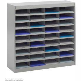 36 Compartment Steel Literature Organizer Gray by