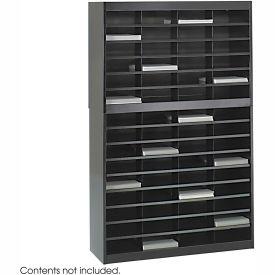 60 Compartment Steel Literature Organizer - Black