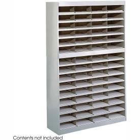 60 Compartment Steel Literature Organizer - Gray