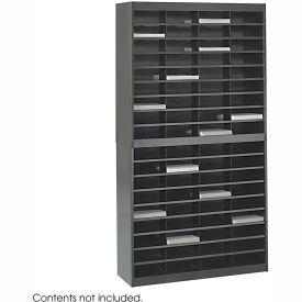 72 Compartment Steel Literature Organizer Black by