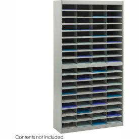 72 Compartment Steel Literature Organizer Gray by