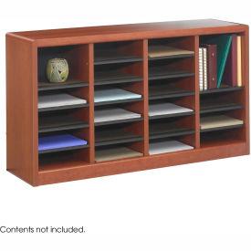 24 Compartment Wooden Literature Organizer Cherry by