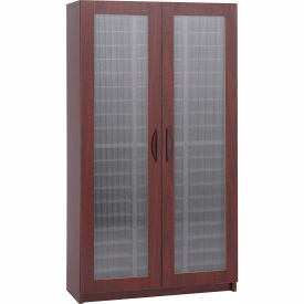 60 Compartment Literature Organizer With Doors - Mahogany