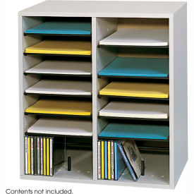 16 Compartment Adjustable Literature Organizer Gray by