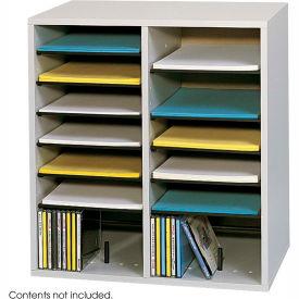 16 Compartment Adjustable Literature Organizer - Gray