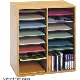16 Compartment Adjustable Literature Organizer Medium Oak by