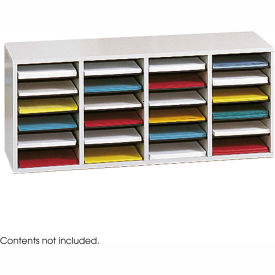 24 Compartment Adjustable Literature Organizer Gray by