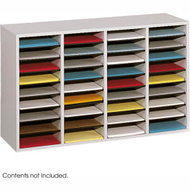 36 Compartment Adjustable Literature Organizer Gray by