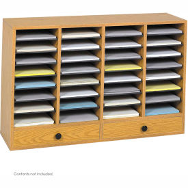 32 Compartment Adjustable Literature Organizer w/ Drawer Oak by