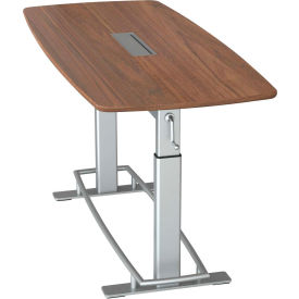 """Focal™ Confluence 6 Height Adjustable Conference Table - 78"""" x 34"""" - Black Walnut"""