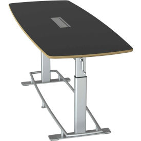 """Focal™ Confluence 6 Height Adjustable Conference Table - 94"""" x 36"""" - Black"""