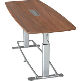 """Focal™ Confluence 6 Height Adjustable Conference Table - 94"""" x 36"""" - Black Walnut"""