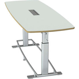 """Focal™ Confluence 6 Height Adjustable Conference Table - 94"""" x 36"""" - Glacier White"""