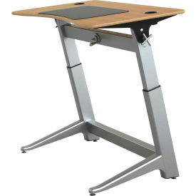 "Focal™ Locus 4 Height Adjustable Sit-Stand Desk - 48"" x 30"" - White Oak"