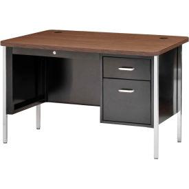 "Sandusky Single Pedestal Teacher Steel Desk - 48"" x 30"" - Black/Walnut Top"