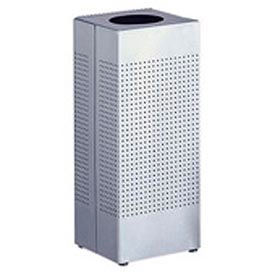 Rubbermaid® Silhouette SC10 Open Top Square Receptacle w/Plastic Liner, 6 Gal - Stainless Steel