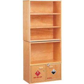 """Wooden Shelving Unit, with Combo Acid/Flammables Cabinet, 31""""W x 16""""D x 72-1/2""""H"""