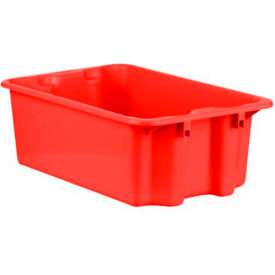 """Schaefer Stack & Nest Tote FB601 - 23""""L x 15""""W x 8""""H - Closed Handles - Red - Pkg Qty 10"""