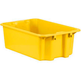 """Schaefer Stack & Nest Tote FB601 - 23""""L x 15""""W x 8""""H - Closed Handles - Yellow - Pkg Qty 10"""