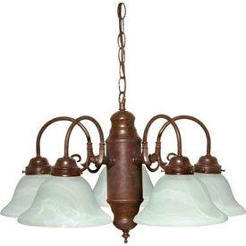 Satco 60-1291 5 Light Chandelier w/ Alabaster Glass  Old Bronze