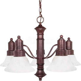 "Satco 60-191 Gotham 5 Light 25"" Chandelier w/ Alabaster Glass Bell Shades  Old Bronze"